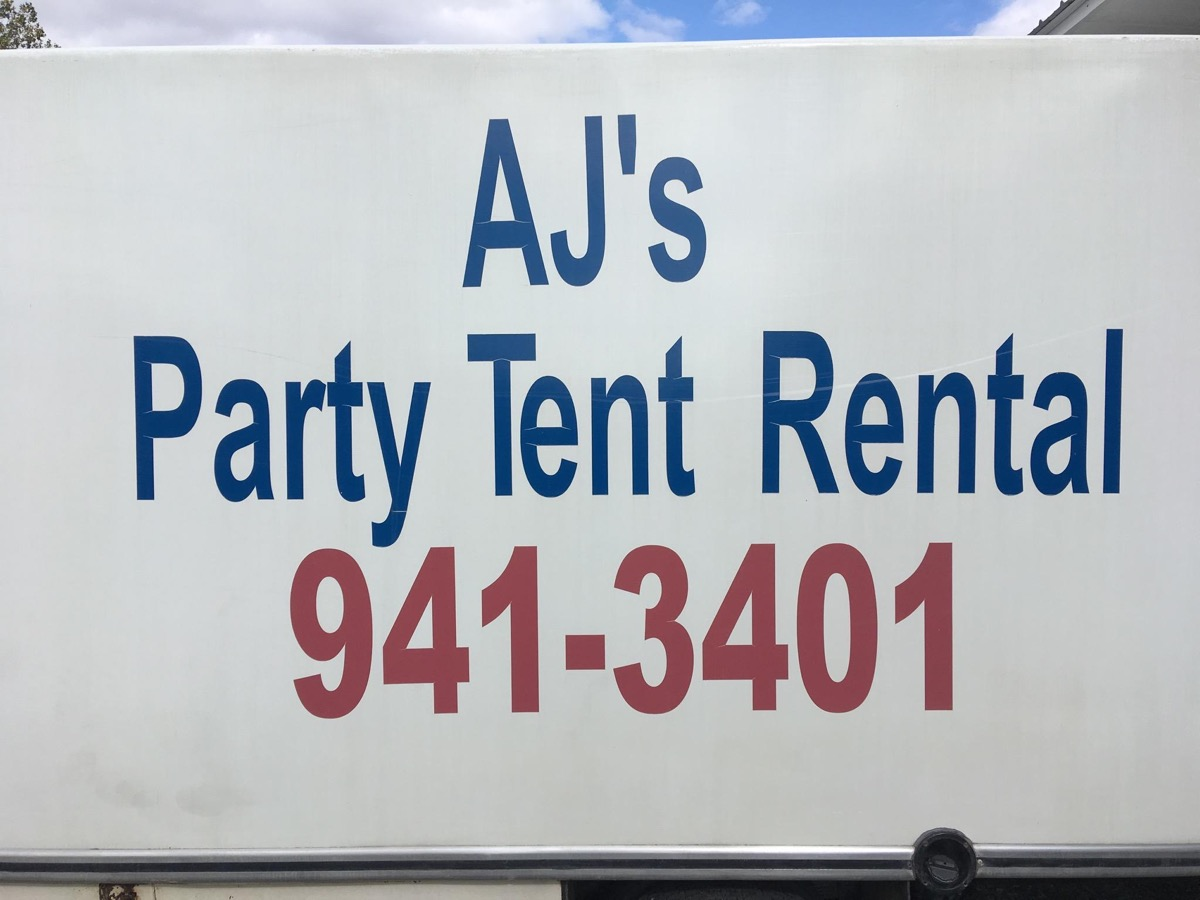 AJ's Party Tent Rental sign